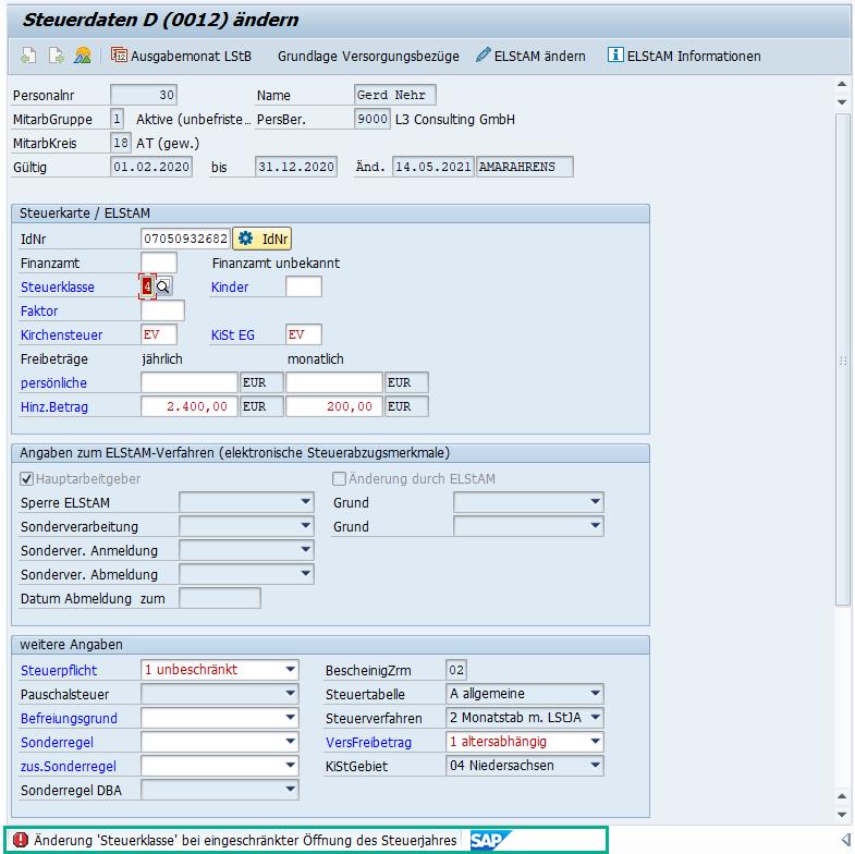 """Stammdatenänderung Infotyp 0012 """"Steuerdaten D"""" bei eingeschränkter Öffnung des Steuerjahres im SAP HCM"""