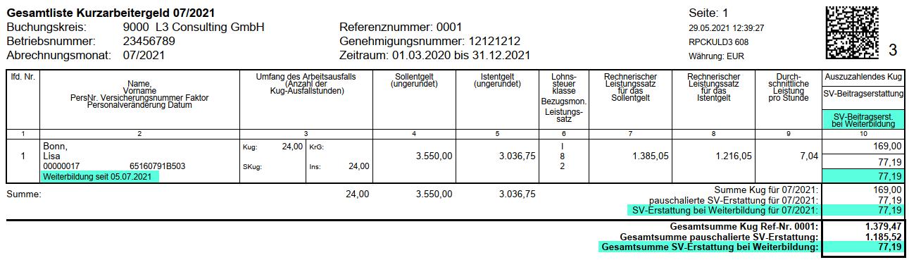 Abrechnungsliste Kurzarbeitergeld im SAP HCM mit neuen Feldern für pauschalierte SV-Beitragserstattung bei Weiterbildung