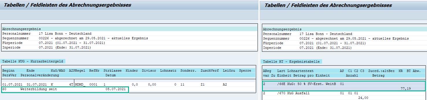 Tabellen KUG und RT im Abrechnungsergebnis für die pauschalierte SV-Beitragserstattung bei Weiterbildung im SAP HCM