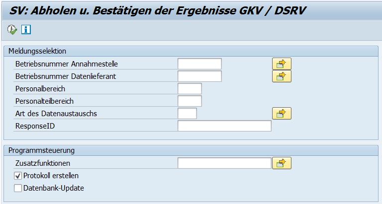 Selektionsbild des Reports des Reports SV: Abholung u. Bestätigung der Ergebnisse GKV / DSRV (RPCSVPD0_IN)