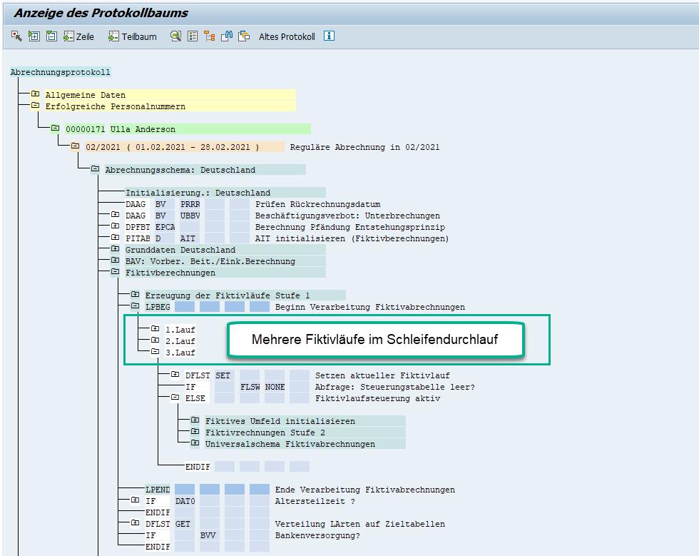 Mehrere (3) Fiktivläufe im Schleifendurchlauf im Schema D000 der Entgeltabrechnung des SAP HCM