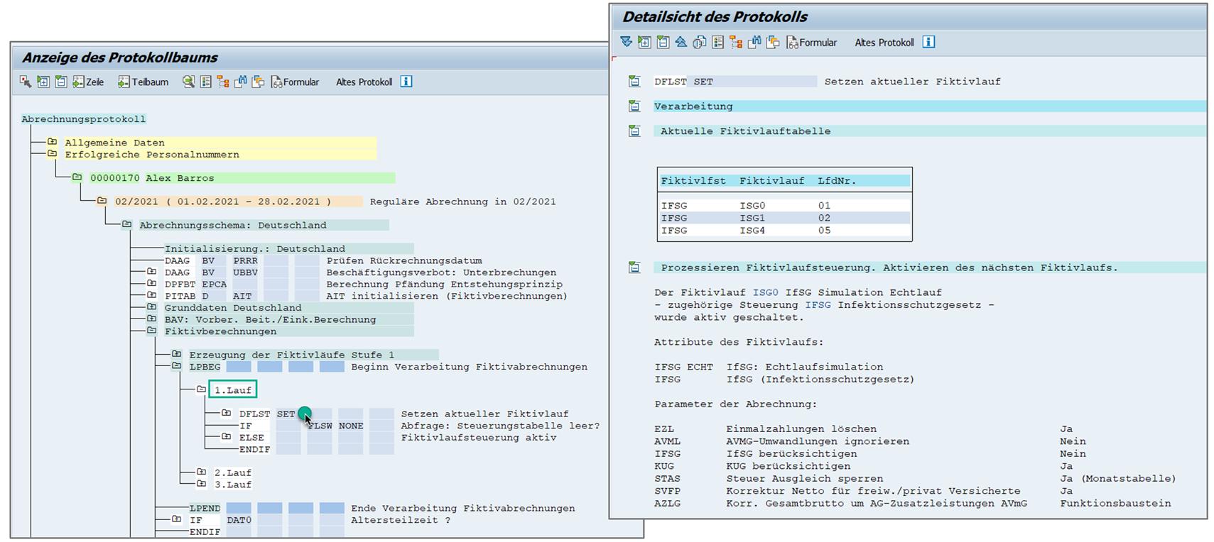 Setzen des aktuellen Fiktivlaufs  D000 der Entgeltabrechnung des SAP HCM