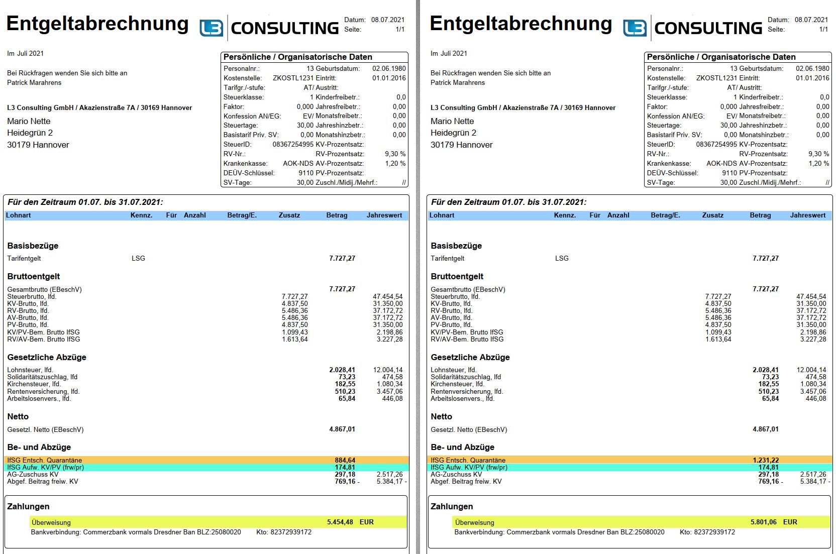 IfSG-Beispiel im SAP HCM: Entgeltnachweise mit Verdienstausfall mit tatsächlichem und pauschaliertem Netto