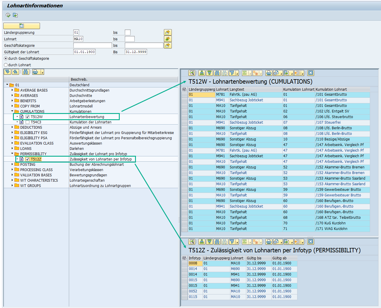 SAP HCM Lohnarteninformation: Ausgabe nach Geschäftskategorie mit selektierten Customizing-Tabellen