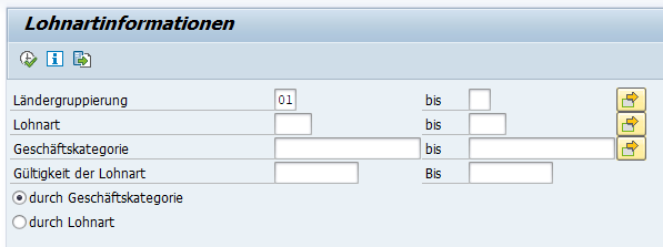 SAP HCM Lohnarteninformation: Selektionsbild