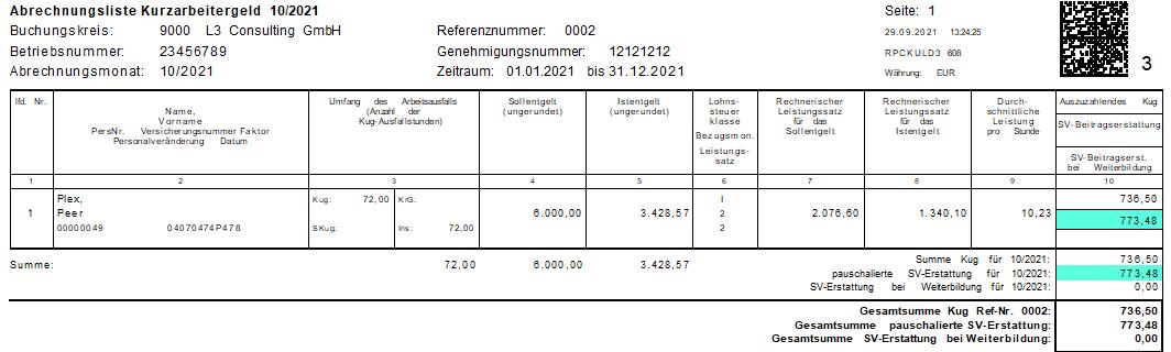 Verlängerung der 100% SV-Erstattung bis zum 31.12.2021 in der KuG-Abrechnungsliste im SAP HCM